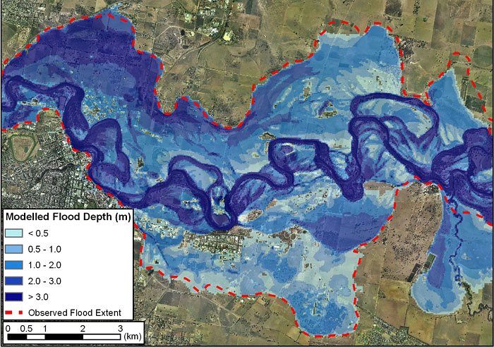 Post event comparison of flood extent modelled (predicted) by a floodplain hydraulic model and and actual flood event in Wagga Wagga, NSW, 1974